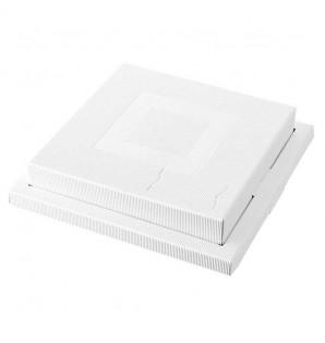 Coffret carré Ondeo carton kraft blanc
