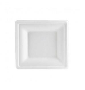 Assiette carrée bagasse blanche larges rebords