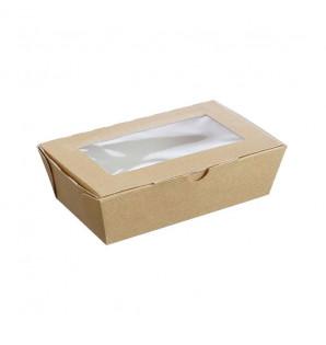 Barquette carton kraft fenêtre 1 L