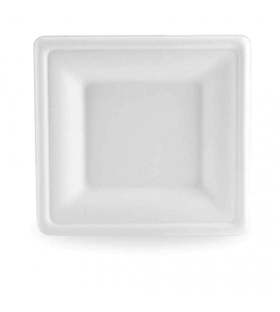 Grande assiette en bagasse blanche à larges rebords