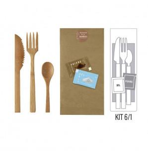 Kit 6/1 couverts bambou Premium