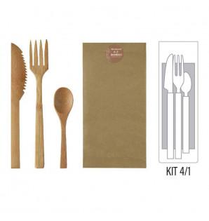 Kit 4/1 couverts bambou Premium
