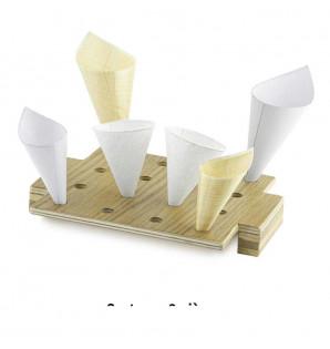 Présentoir Conik en bois fait main 16 cônes