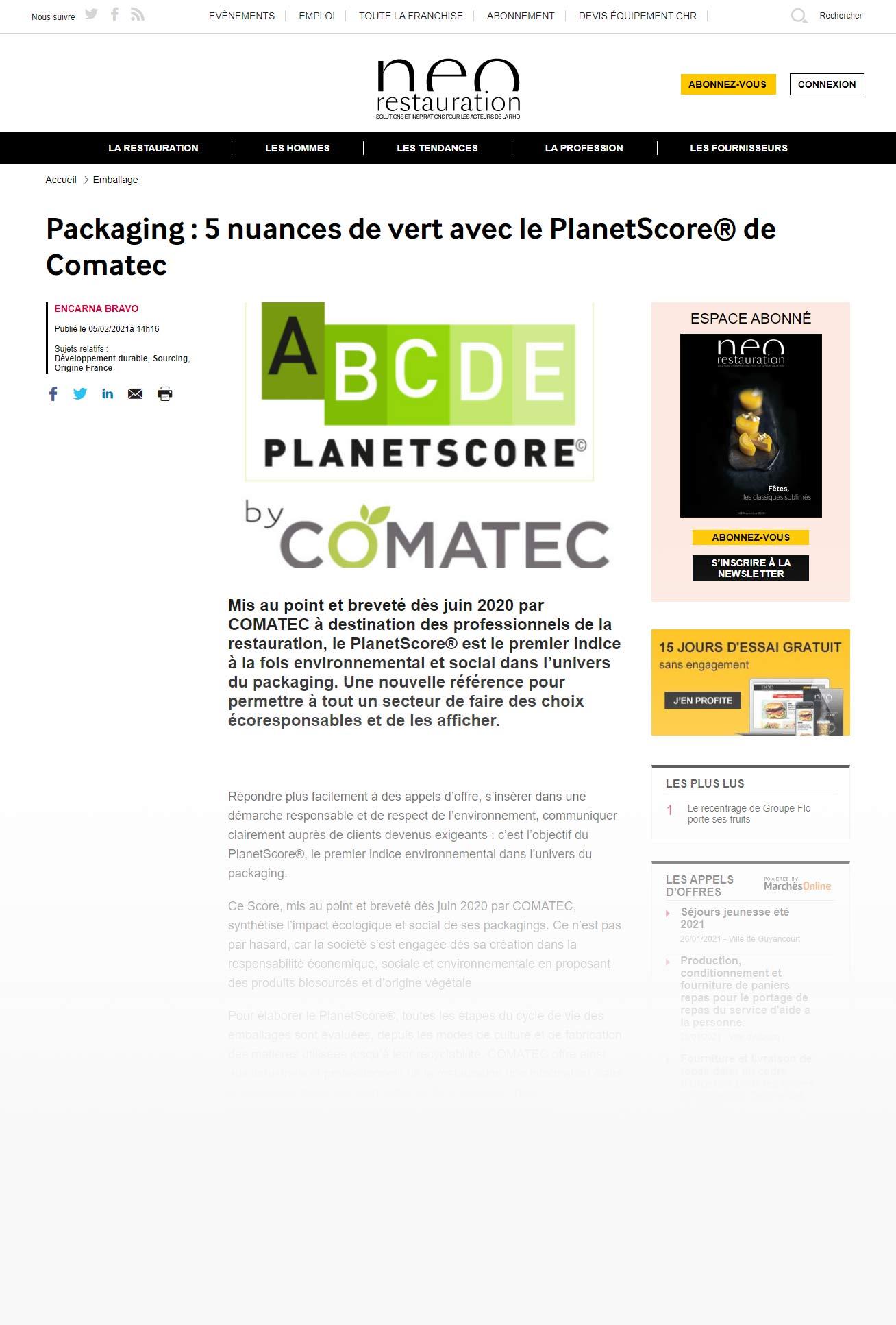 Le magazine Neo Restauration met le PlanetScore© de Comatec en lumière